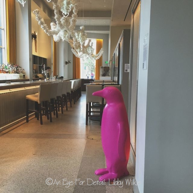 Luxury The penguin is the ucmascot ud of the hotel chain and each museum hotel has its own color Durham is this magenta pink